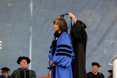 Deborah Jackson receiving degree
