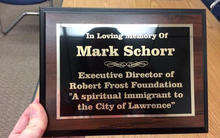 Cambridge College Faculty Member Mark Schorr dedication plaque